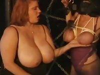 Masked slavegirl bound by lardy mistress