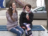 Lesbians Mara Gri and Kim meet up outdoors for a pussy licking session