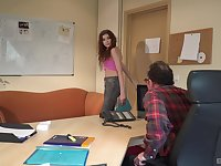 Curly haired redhead teen babe seduces an old guy and fucks him