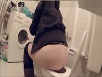 Teen friends of my sister caught by hidden cam in toilet