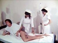 Cute nurse taking temp and giving enema