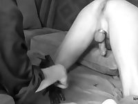 Femdom Mistress Nana deep inside my humble asshole with her hand, while milking my dick