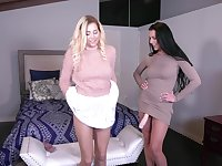 Texas Patti and Sophia Lux want to share long dildo on the bed