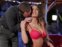 Bombshell pornstar August Ames rides cock by the pool