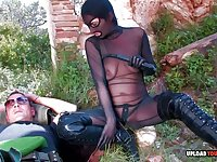 Soldier penetrates a smoking babe in the mountains as hard as he can.
