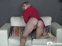 Lonely wife plays with her wet cunt