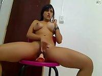 Big Booty Bosomy Latina Riding Dildo On Cam