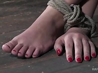 Kinky bondage in rough scenes of sex for Red August