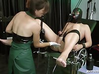Baroness Mercedes punishes a kinky guy with different toys