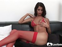 Smoking babe in stockings gets shafted without mercy