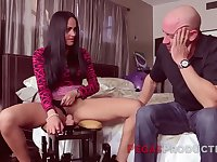 Insatiable housewife enjoys crazy sex machine and gets her pussy nailed hard