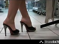 sexy high heel mules