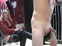 Blonde mistress Boots torture