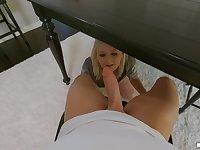 Natalia Queen hides under the table to blow Alex Jett