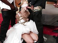 Bride Chloe Cherry destroyed in a hardcore interracial gangbang