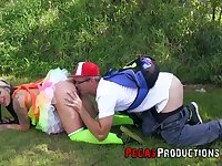 Chick in funny outfit Lily Fatale is fucked by kinky boyfriend right on the grass