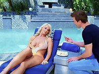 Raunchy blonde MILF London River gets two cumshots by the pool