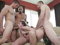 Close and personal with four horny hunks
