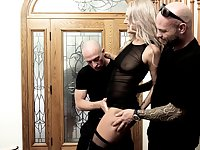 Blonde MILF babe Victoria Steffanie fucked and cum covered by two cocks