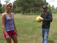Pretty blonde spreads her legs for a penis while she screams
