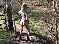 BUBBLE BUTT MILF HIKING IN MINI SKIRT HIGH HEELS NO PANTIES NUDE IN PUBLIC