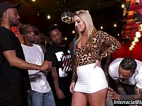 Perverted whore with sexy big booty Candice Dare is mouthfucked by studs