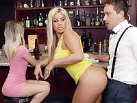 Hot MILF feel bartender's dick during conversation