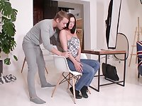 Brunette with young puffy nipples Geni Juice gets her anus slammed