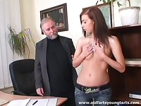 Small tits brunette Regina G drops her clothes to be fucked by older guy
