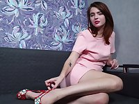 Libidinous girl Felicia Vina is masturbating stretched pussy labia