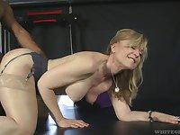 Fit fat bottomed GILF Nina Hartley cannot say no to a big black cock