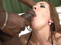 Interracial bang on a bed with sex bomb Alex Fe and a big black cock