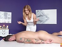 Hot masseuse Chrissy gets her sweet cunt drilled by a hung client
