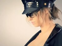 Hot blonde woman dressed up as a police officer is posing and getting fucked hard