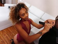 Chick with curly hair and small tits is fucked sideways by black stud