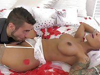 Transsexual bride TS Foxxy is making love with her handsome groom