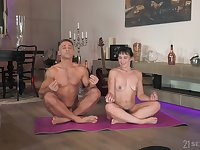 Muscular man deep fucks the hot amateur teen during the yoga lesson