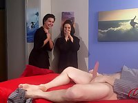 Kinky man strokes his penis while Lola Knight and her BFF watch