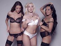 Lexi Dona, Silvia Dellai, Sybil and Lovita Fate pose together in lingerie