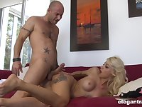 Insolent blonde with big tits, crazy hardcore sex on a couch