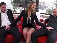 Office babe handles these two big dicks with great thirst