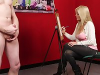 Clothed blonde starts feeling intrigued by the man's full size dick