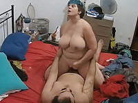 Plump Curvy Busty Mature Riding Dick & Taking Facial at Home