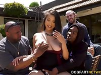 Sexy busty Asian nympho Sharon Lee loves sucking fat long BBCs dry