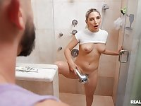 Horny room-mate Abella Danger teases and gets fucked balls deep