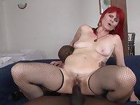 Redhead mature amateur Amanda Rose fucked hard by a big black cock