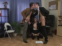 MILF gets a double dose of dick at the office