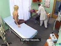Skinny blonde takes doctors advice