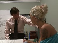 Blonde secretary Brooke Jameson gives head and gets fucked in the office