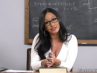 Female teacher blacked and holes in class